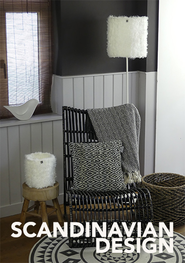 White light in a black scandinavian interior